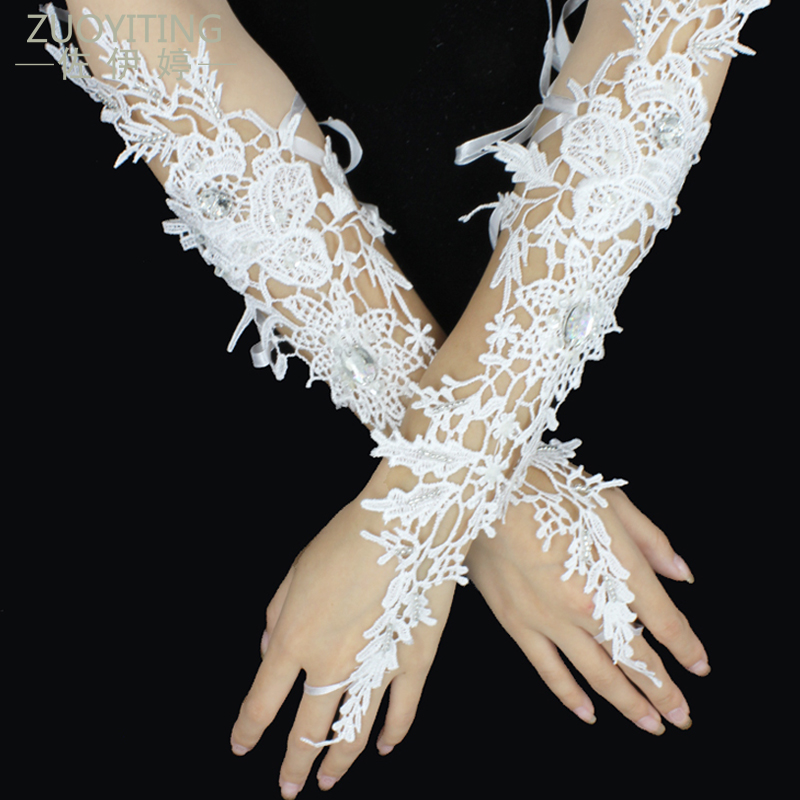 ZUOYITING New Luxury White Lace Princess Bridal Gloves With beaded fingerless Fashion Female Long Design Wedding Dresses Gloves