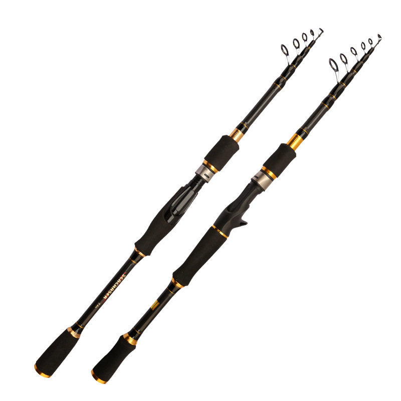 2019 series ultralight carbon spinning fishing rod for squid bass carp bait casting lure rod telescopic stick hard short 1.8 2.7-in Fishing Rods from Sports & Entertainment