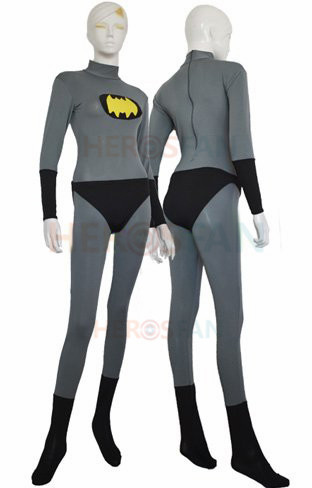 Batman Costume Grey and Yellow Spandex Lycra Batman Jumpsuit Halloween Party Cosplay Zentai Suit