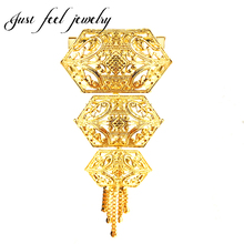 Vogue India Gold Color Brooches Flower Alloy for Women Brooch Tassels Design Safety Pins Kundan Collar Clip Pendant Accessories