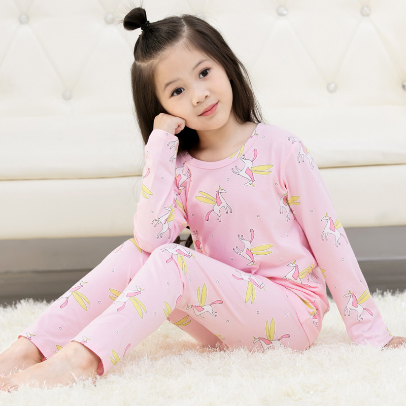 Baby Unicorn Pajamas Children for Girls Pyjamas Boys Sleepwear Kids Cartoon Pajamas Strawberry Cat Ice Cream Pijamas Top+pants цены онлайн