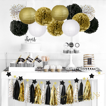 Nicro 28 pcs/lot Graduation 2019 Party Decoration Kit Gold Slingers Tissue Paper Flower Lantern Tassel Garland  Birthday #Set18 1