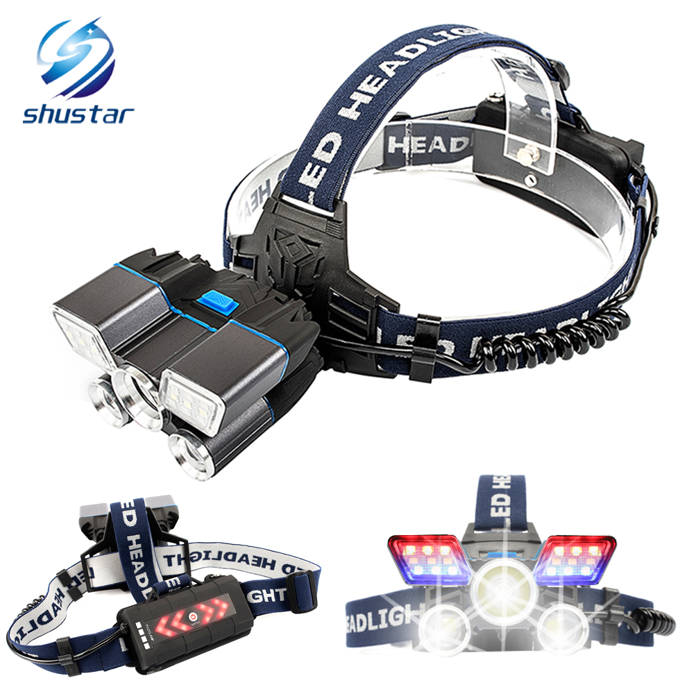 Super Bright 30000 Lm Led Headlamp With Red And Blue Warning Lights 21 Lamp Beads Waterproof Led Headlight For Fishing Hunting