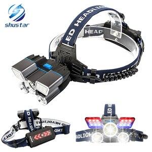 Image 1 - Süper parlak LED far kırmızı ve mavi uyarı ışıkları 21 lamba yuvası su geçirmez LED far balıkçılık avcılık için