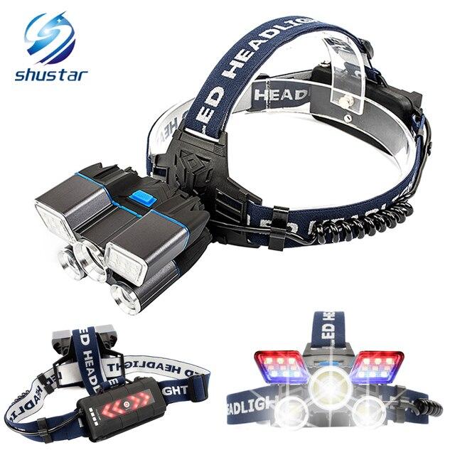 Süper parlak LED far kırmızı ve mavi uyarı ışıkları 21 lamba yuvası su geçirmez LED far balıkçılık avcılık için