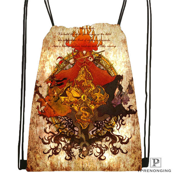 Custom Hufflepuff Drawstring Backpack Bag Cute Daypack Kids Satchel (Black Back) 31x40cm#180611-03-127