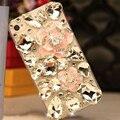 Камелия Роскошные Bling Rhinestone Diamond Crystal Цветок Телефон Случаях Coque Назад обложка для iPhone 5s SE 6 s 7 Plus для Samsung Капа