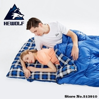 Hewolf outdoors adult 3 season camping sleeping bag Hotel septum traveling use can splicing into two seperate single bag