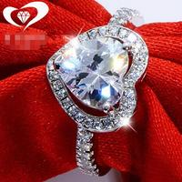 2CT Solid 925 Stelring Silver Wedding Engagement Anniversary Heart Shape Ring Band Jewelry Women Men Brithday Party Gift