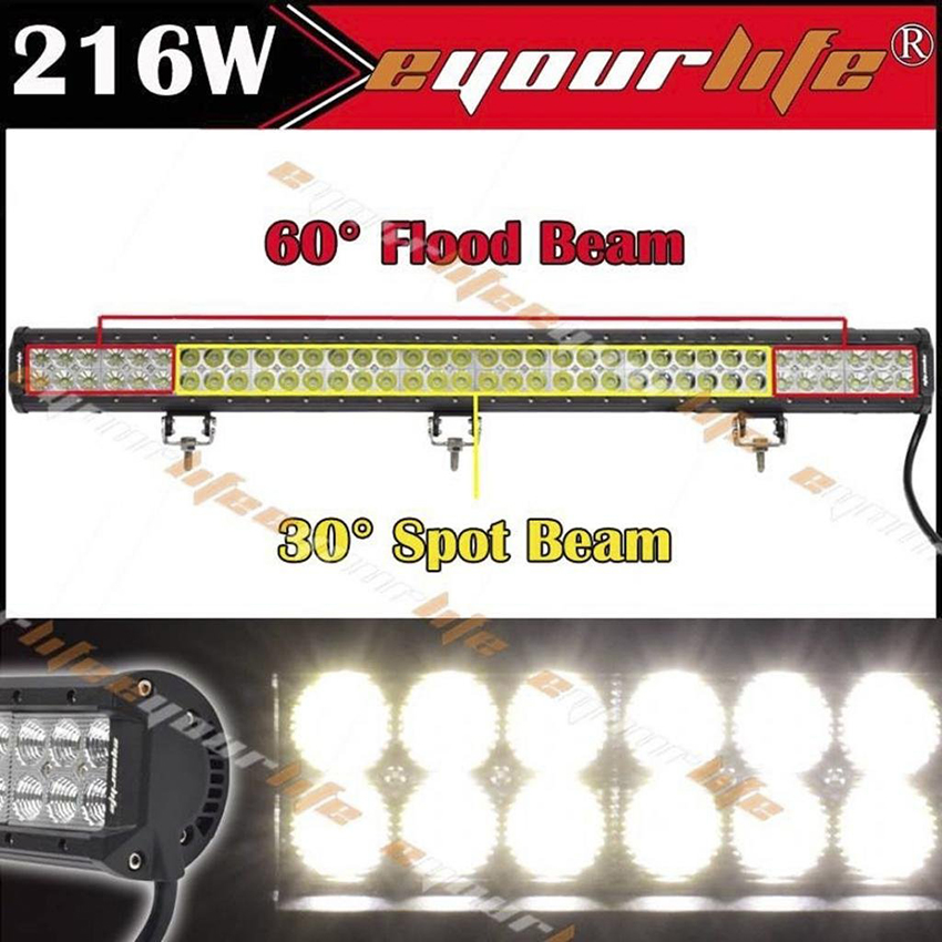 Eyourlife 33inch Led Work Light Bar Spot Flood Combo Off Road Driving 216w 4x4 17 inch 108w led light bar spot flood combo light led work light bar off road truck tractor suv 4x4 led car light 12v 24v