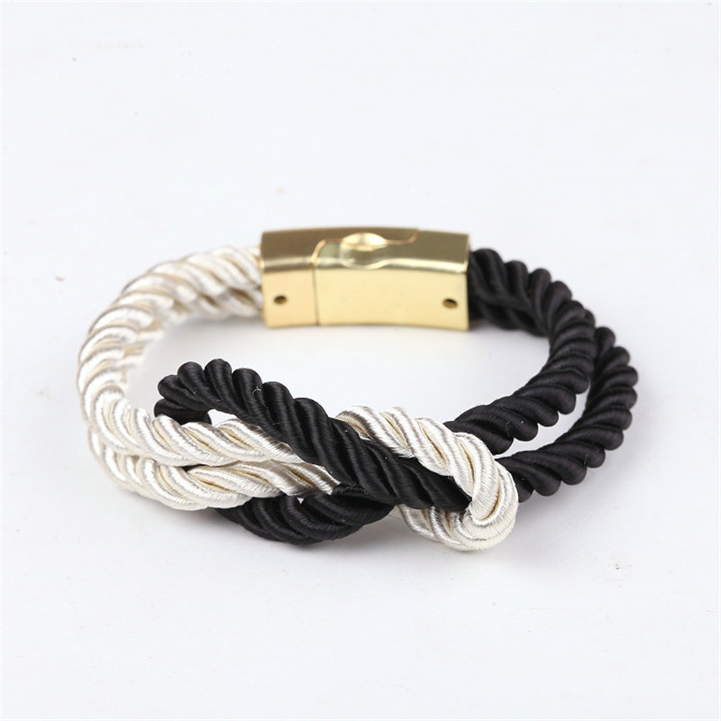 2017 Hot Fashion Bracelets Braided Rope Chain With a Magnetic Clasp With Bow Charm of Leather Men and Women Jewelry Bangles
