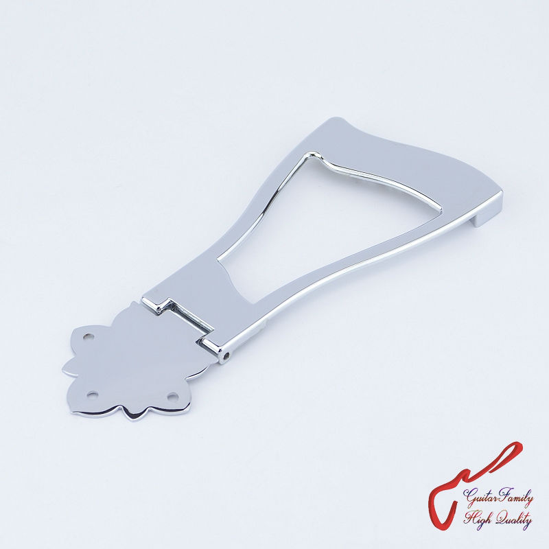 1 Set GuitarFamily Jazz Guitar Bridge Tailpiece For Hollow Body Archtop Guitar  Chrome  ( #1180 ) MADE IN KOREA 1 set guitarfamily alnico pickup for casino jazz guitar nickel cover made in korea