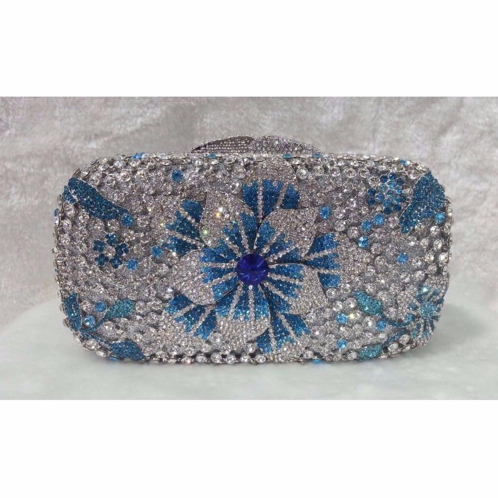 ФОТО 8224E color-E Crystal Flower Floral Lily Fashion Wedding Bridal hollow Metal Evening purse clutch bag handbag box case