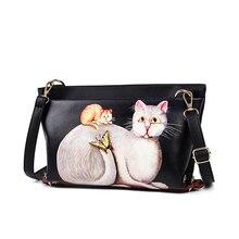 2016 mode frauen leder umhängetaschen marke design handtasche crossbody tasche Katze muster frauen umhängetasche
