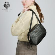 LAORENTOU Brand Female Fashion Leather Bags Retro Alligator Shoulder Bag Purse Lady Crossbody Women Valentines Day Gift