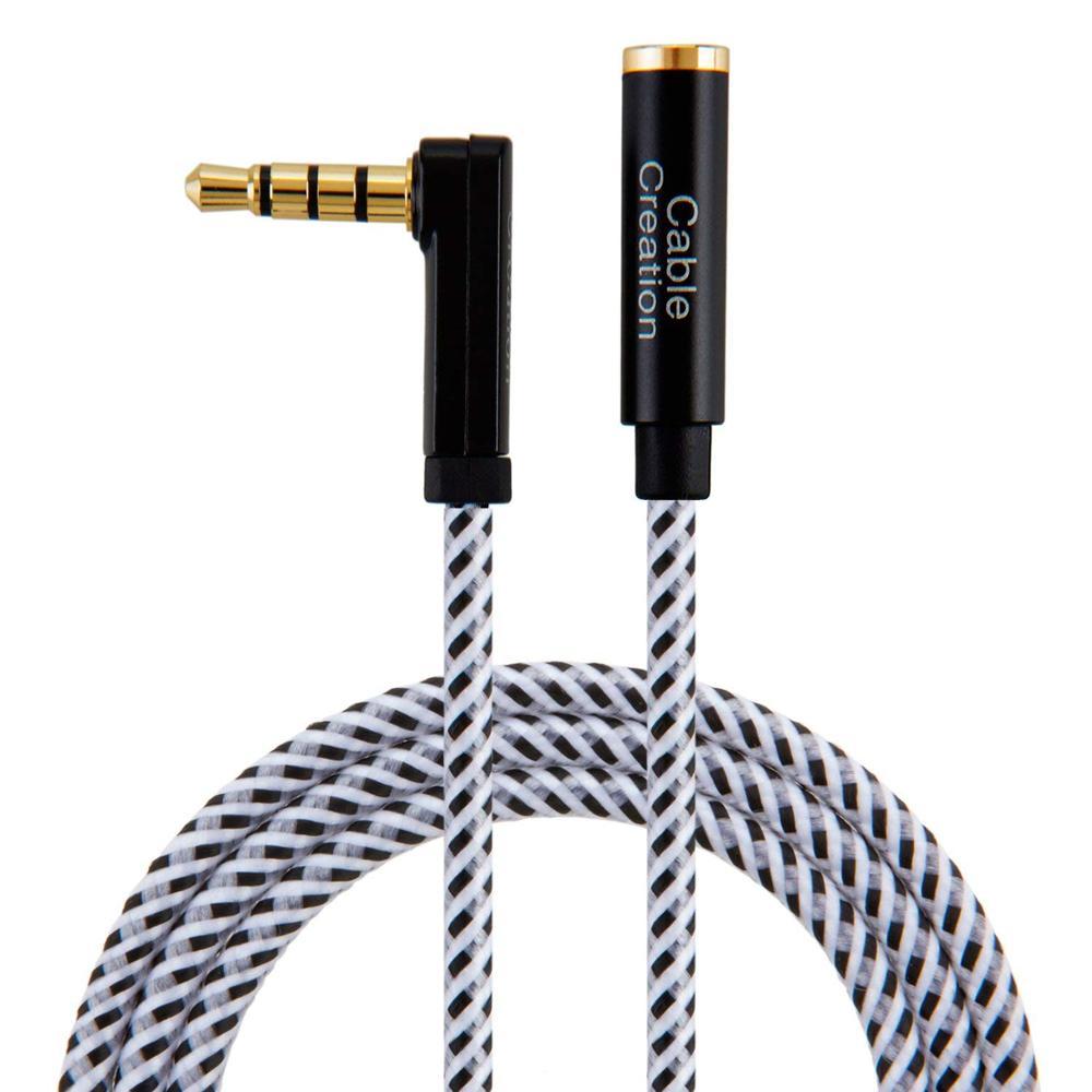 Aux кабель, кабель 3,5 мм TRRS удлинитель стерео аудио кабель, 90 градусов правый угол 4-проводник, черный и белый