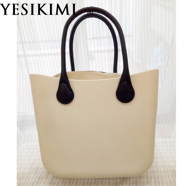 Beige Silicone Bag Women Bucket bags Casual Tote Summer Beach Purses 42CM Classic Handbag Design Bolsas