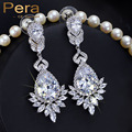 Luxury White Gold Plated Big Water Drop AAA+ Cubic Zirconia Stone Long Wedding Costume Jewelry Earrings For Brides E002