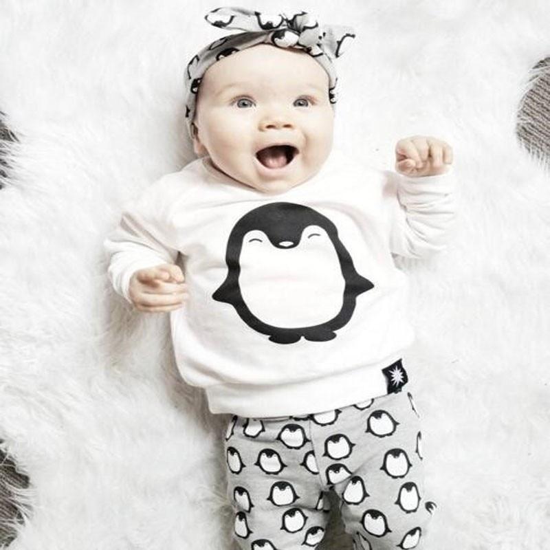 Newborn baby girls clothes Autumn penguin 3pcs kids children boy clothing sets T Shirt Pants Headband