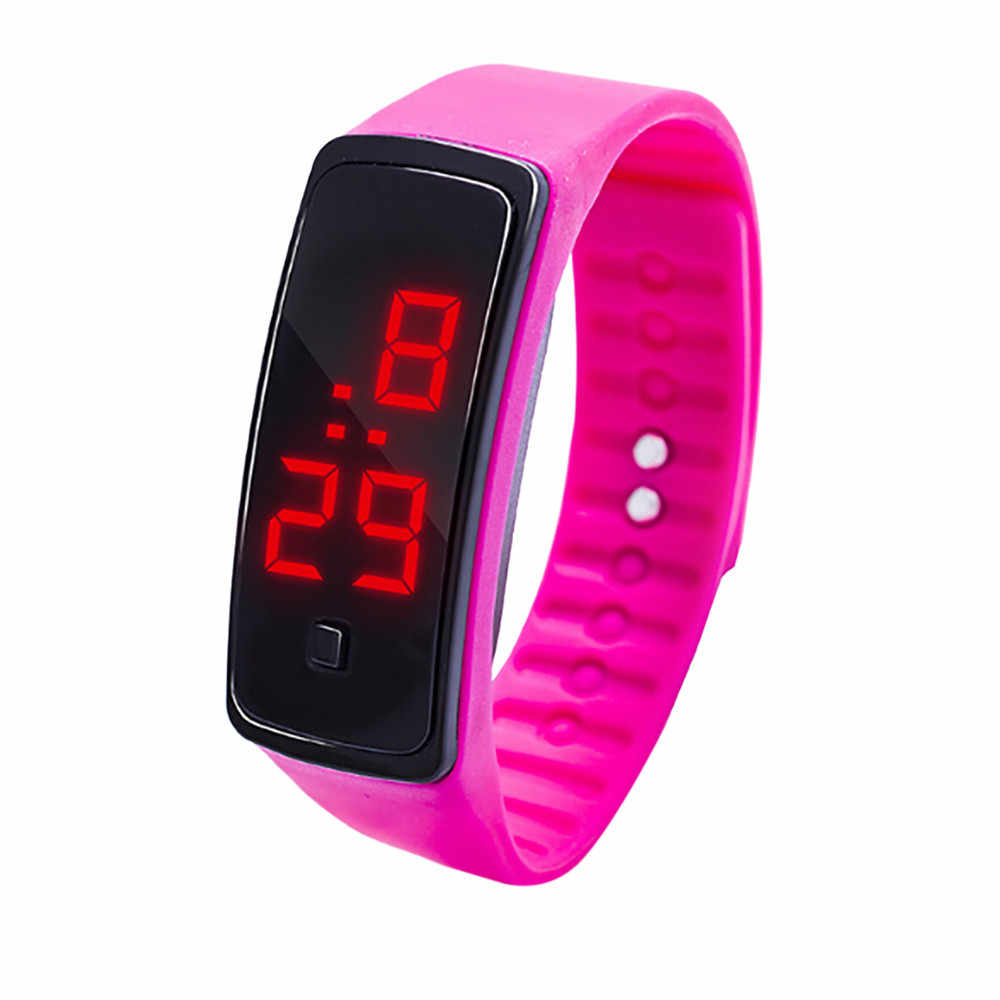 LED דיגיטלי תצוגת צמיד שעון ילדי תלמידי של סיליקה ג 'ל ספורט שעון אלקטרוני דיגיטלי שעון מתנות גברים של יד לומי