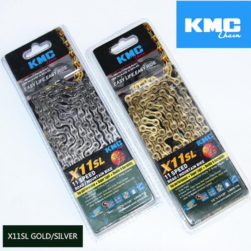 Original Kmc X11SL 11 speed road gold chain Bicycle Hollow Chain Cycling Bicycle Bike Parts MTB Mountain Bike Chain west biking bike chain wheel 39 53t bicycle crank 170 175mm fit speed 9 mtb road bike cycling bicycle crank
