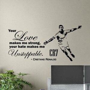 Cristiano ronaldo citações decalque da parede adesivos de parede cartaz futebol esporte jogador crianças vinil adesivo gym decoração n146
