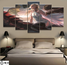 Home Decor 5 Piece Dragon and Maiden Animation Canvas Printed Wall Pictures For Living Room Poster Wholesale
