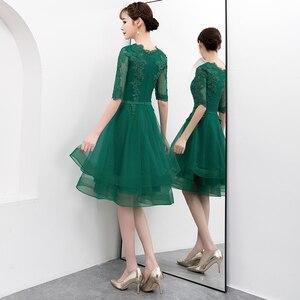 Image 5 - אלגנטי ירוק קצר טול שמלה לנשף עם חצי שרוול סקסי תחרה Applique באורך הברך פורמליות שמלת ערב המפלגה שמלה בתוספת גודל