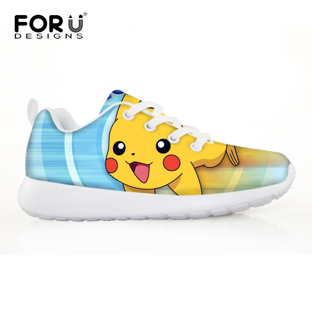 FORUDESIGNS Pokemon Sneakers Japanese Anime Cartoon Children Shoes for Boys Girls Sport Sneakers Outdoor Kids Football Boots