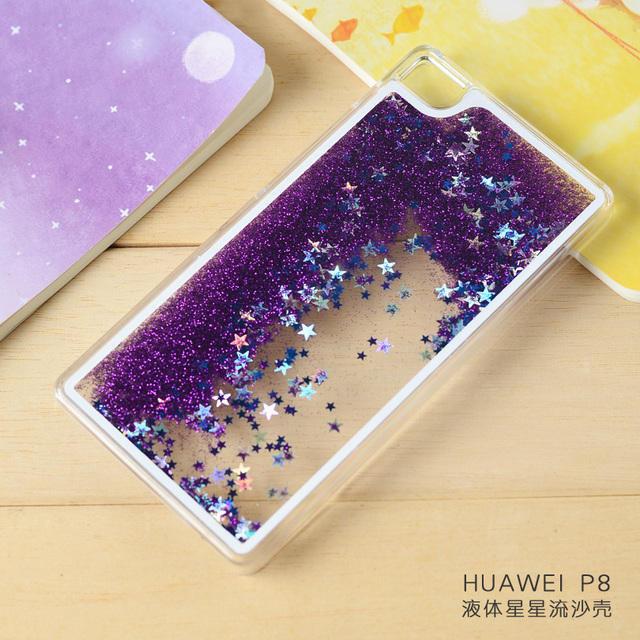 2016 Clear Cellphone Back Cover Case Dynamic Liquid Glitter Sand Quicksand Star PC For Huawei P8 Lite mini Phone Cases
