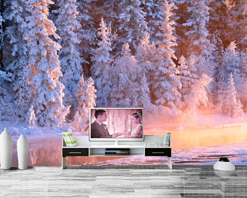 papel de parede Winter Forests Fir Stream Snow Nature photo Spruce wallpaper, living room sofa TV wall bedroom custom murals large mural papel de parede european nostalgia abstract flower and bird wallpaper living room sofa tv wall bedroom 3d wallpaper