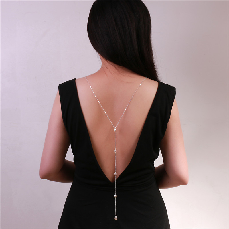 Simple Pearl Back Drop Halskette Long Back Halskette Pearl Bridal Jewelry Back Chain Für Open Low Back Kleid Accessoires
