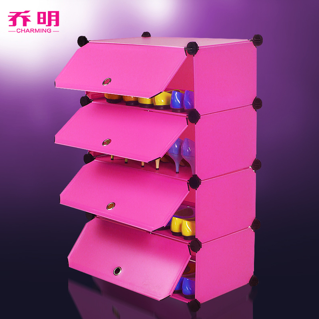 High Quality Silver 4 Tier Plastic Shoe Rack Shoe Cabinet Storage Organizer