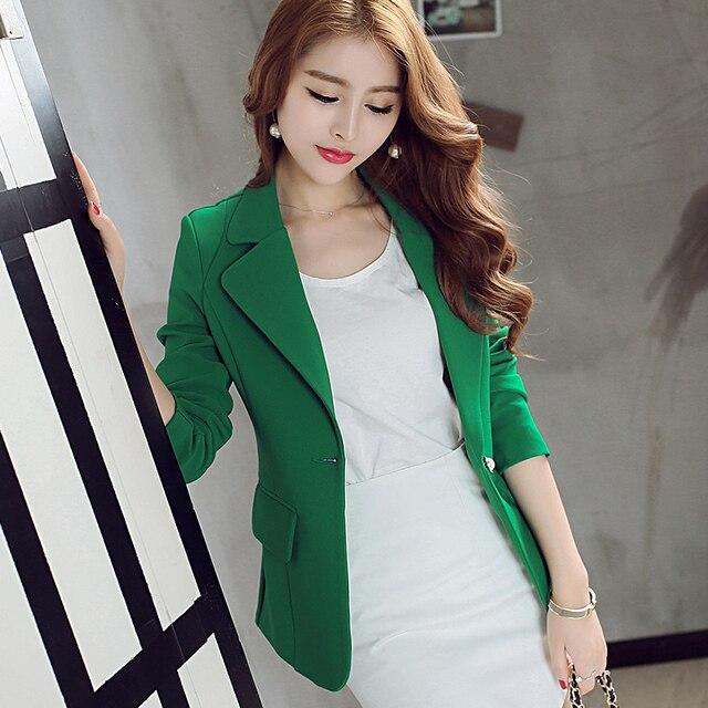 2015 del otoño del resorte mujeres verde chaqueta de traje