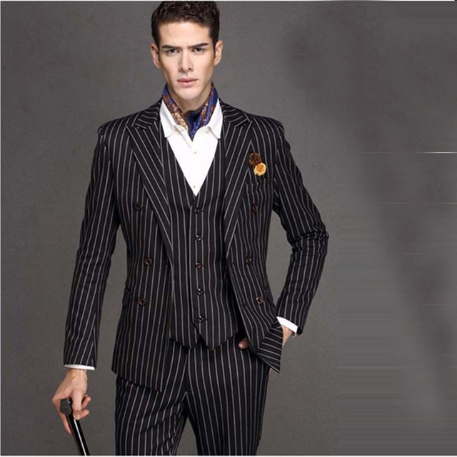 2017 New Black Wedding White Pinstripe Men Suit Peaked Lapel Terno Masculino Slim Fit Blazer Male