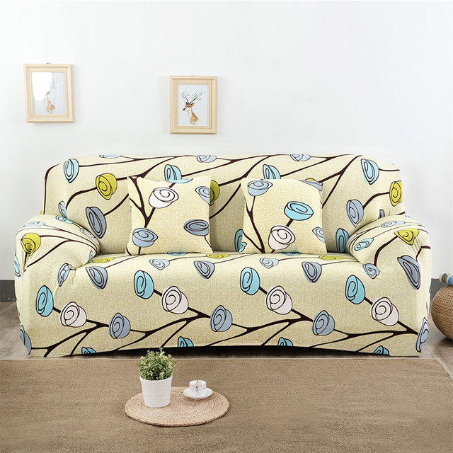 line Shop 1pcs Flower Leaf Soft Stretch Sofa Cover Home Decor