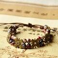 Flower Bracelets Women Ceramic Beads Charm Weave Rope Cuff Bangles Adjustable Link Chain Wristband Bohemia Jewelry Accessories