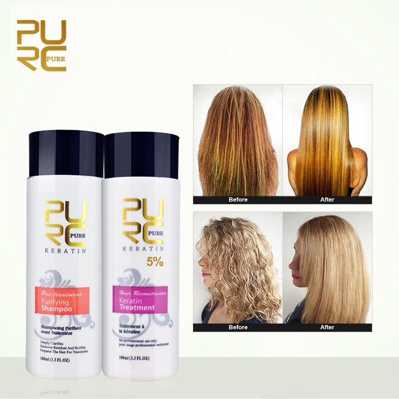 Purc alisamento reparação de cabelo e endireitar danos produtos para o cabelo tratamento de queratina brasileira + purificante shampoo puro 11.11