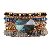 Boho женский браслет с натуральными камнями 5 раз браслеты с кожаными ремешками Лабрадорит многослойный браслет из бисера Прямая поставка