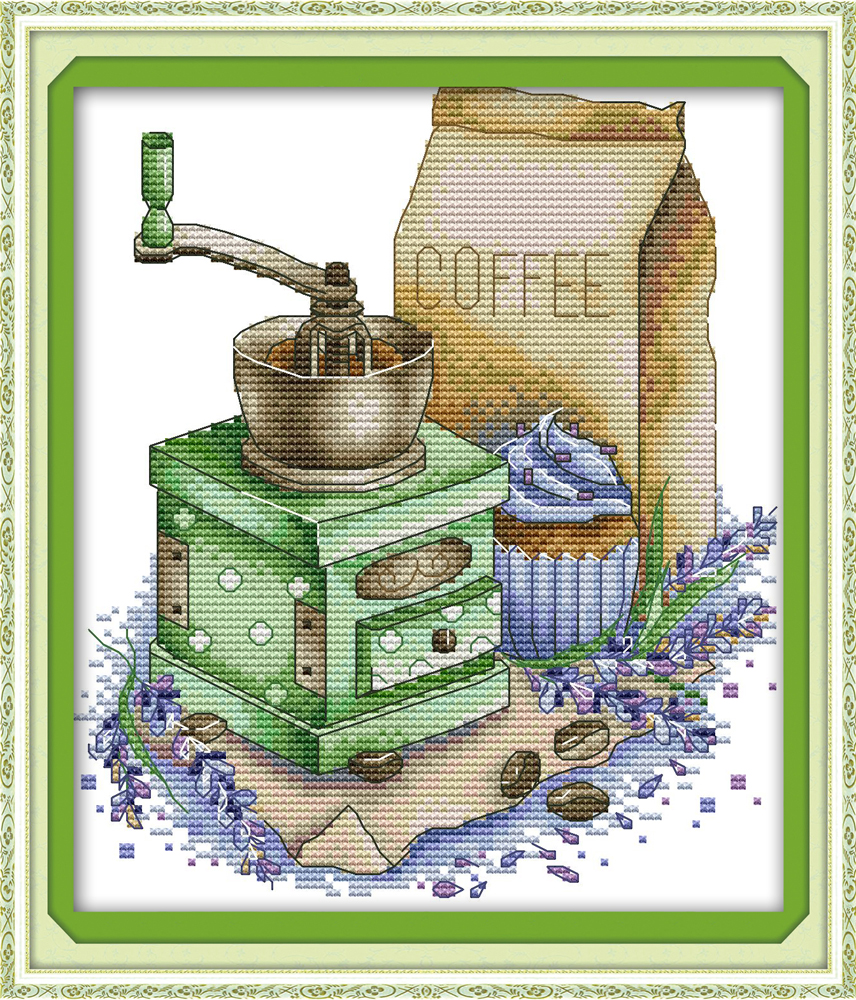 Coffee 2 Cross Stitch Kit Aida 14ct 11ct Count Print Canvas Embroidery DIY Handmade Needlework