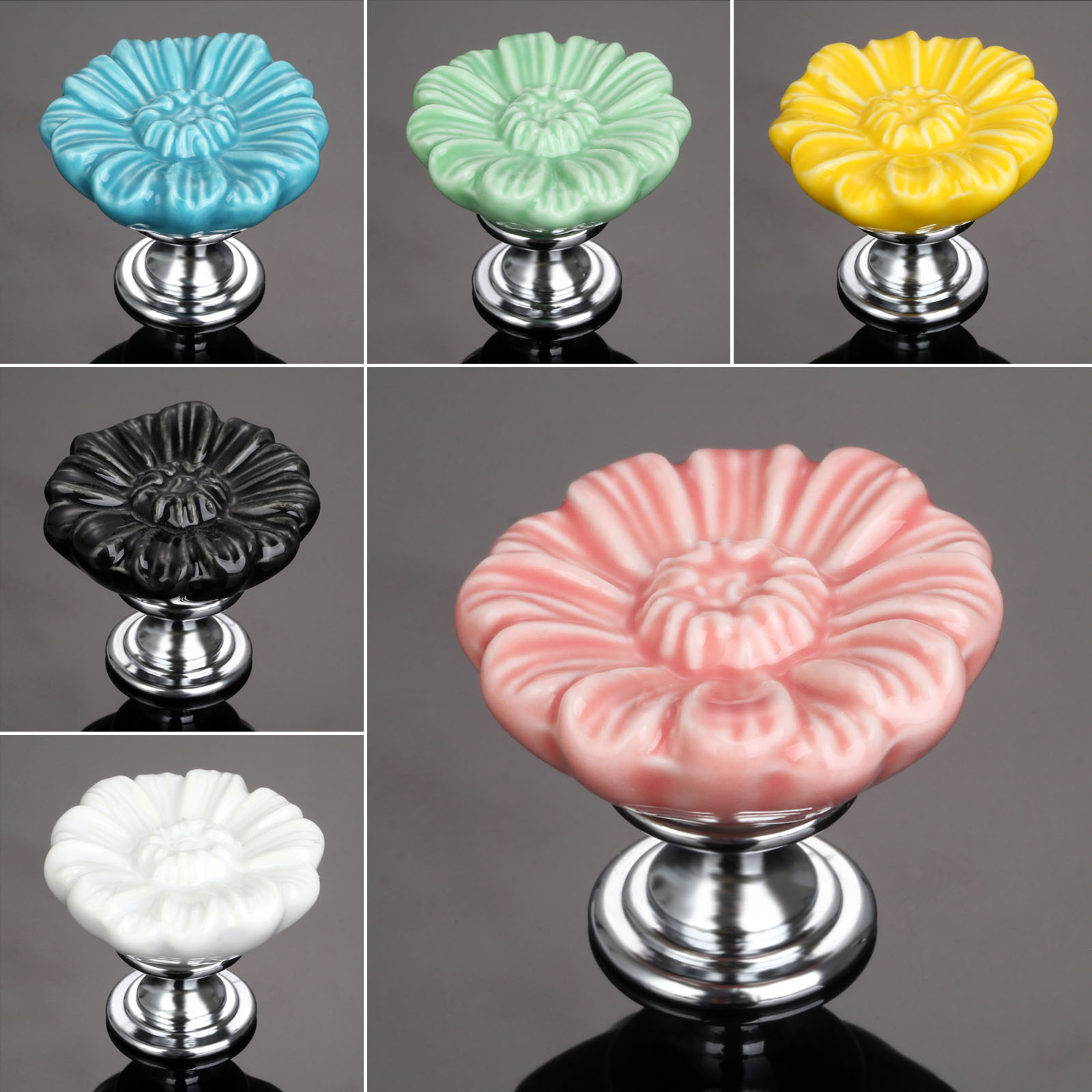 Furniture Handles Vintage Flower Cabinet Knobs and Handles Ceramic Door Knob Cupboard Drawer Kitchen Pull Handle