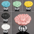 Furniture Handles Vintage Flower Cabinet Knobs and Handles Ceramic Door Knob Cupboard Drawer Kitchen Pull Handle
