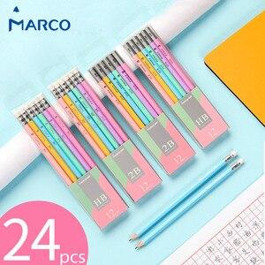 Image 1 - أقلام ماركو لابيسيس للطلبة قلم كاواي ملون سداسي 2B HB قلم رصاص للكتابة مع ممحاة آمنة غير سامة
