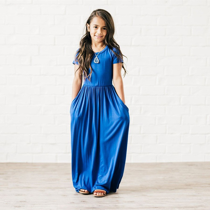 New Arrivals Brief Fashion Girls Dresses Casual Cotton Bohemian Short Sleeve Girls Maxi Dress Modal Soft Kids Dresses For Girls in Dresses from Mother Kids
