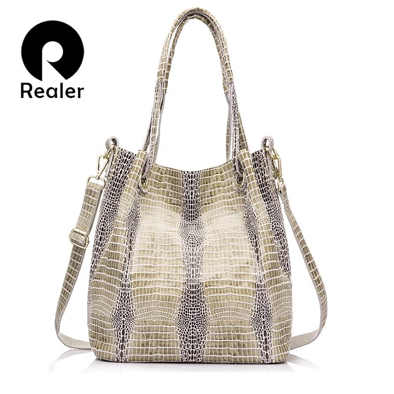 REALER brand design genuine leather shoulder bag female fashion serpentine patte