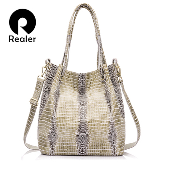 REALER brand women genuine leather handbag extra large capacity shoulder bag female fashion serpentine print leather tote bag handbag