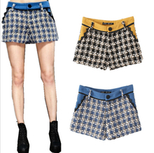 Hot Sales Female Autumn Winter Houndstooth Slim Woolen Shorts for women 2017 new Fashion Patchwork plaid Boot Cut Short Pants