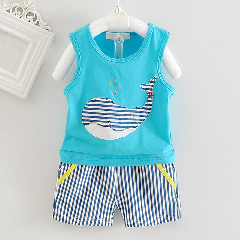 Summer Baby Boys Girls Clothes Set Casual Cotton Sleeveless Vest + Striped Shorts Children Kids Sport Suit Set  for 6-36M Baby  high quality casual cotton striped dress for girls teenagers kids summer sleeveless soft vest vestidos children costume
