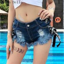 short feminino fashion sexy Mosaic Solid color Lace Hollow Beach Resort denim shorts women pantalones cortos mujer short jeans