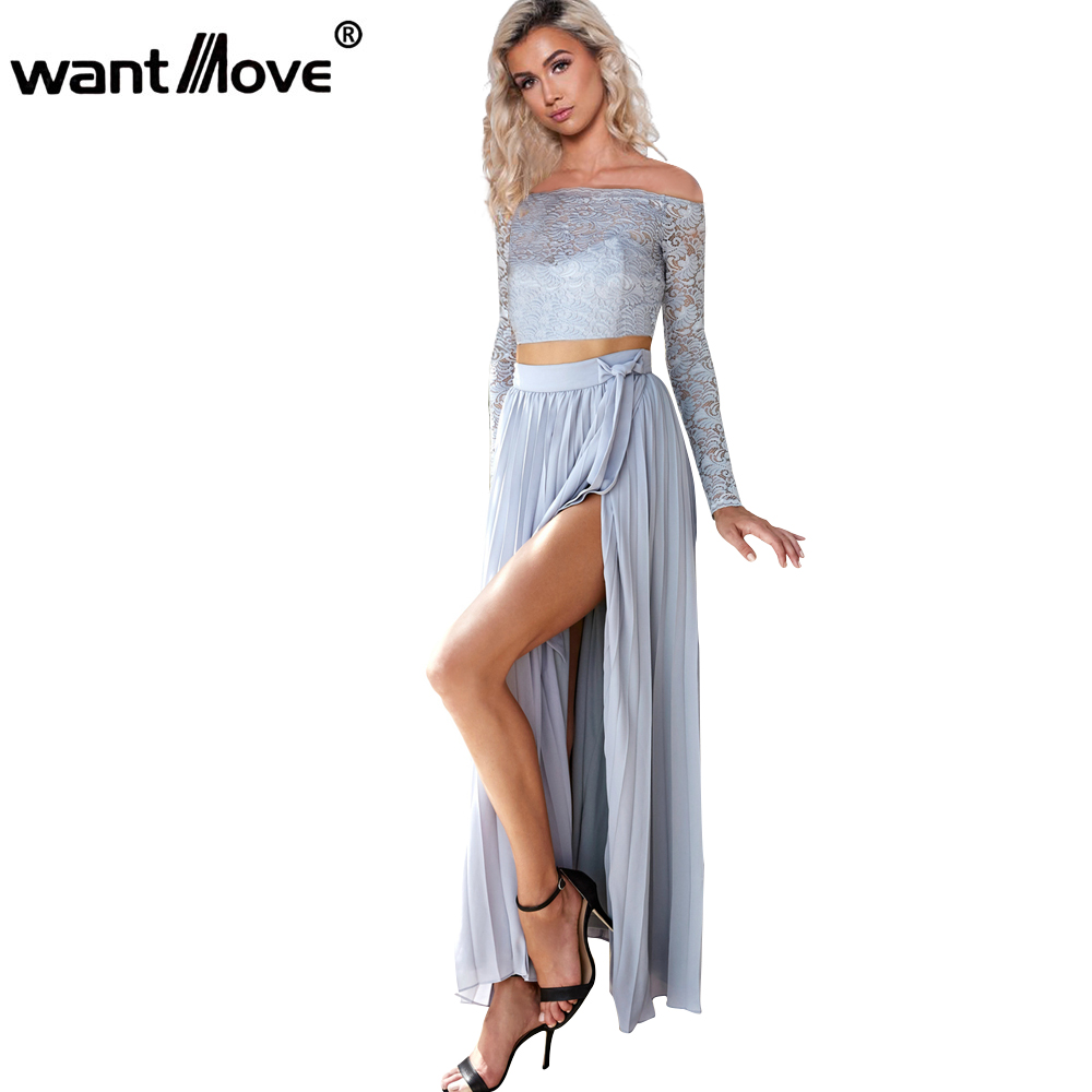 the latest 1842c e8cce US $17.97 10% di SCONTO|Wantmove S XL chiffon pizzo manica lunga vestito  blu donne due pezzi side partito split maxi dress robe abiti JZ007-in Abiti  ...